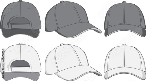 Stampa su Tela  Baseball cap, front, back and side view. Vector illustration