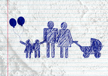 People Family Pictogram On Cem...