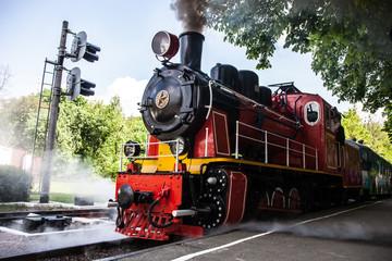 FototapetaSteam locomotive blowing off the smoke