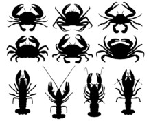 Black Silhouettes Of Crabs, Ve...