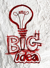Idea Light Bulb Icon On Cement...
