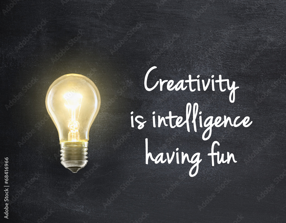 Fototapety, obrazy: Light bulb lamp on blackboard background with creativity quote