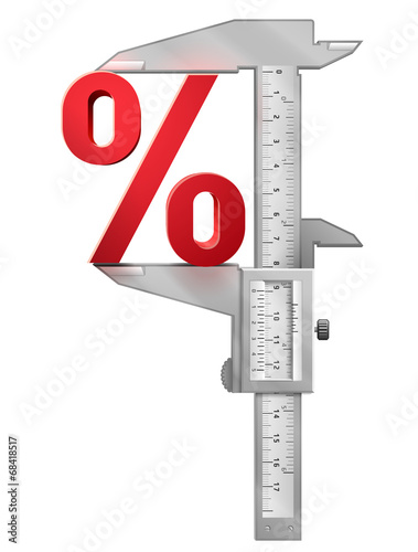 Fotografía  Concept of percentage symbol and measuring tool (caliper)