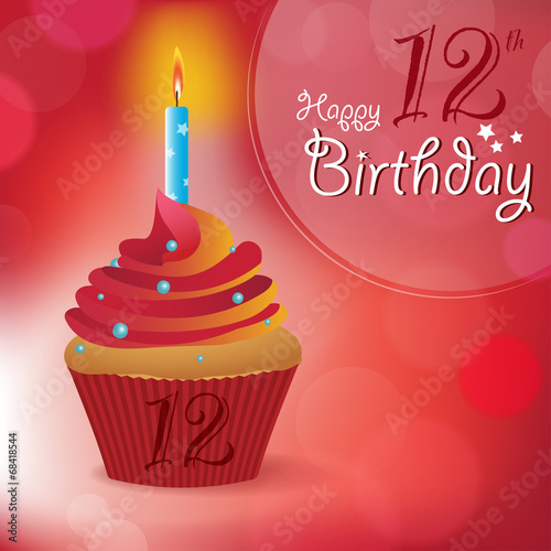 Happy 12th Birthday Message Bokeh Vector Cupcake Candle