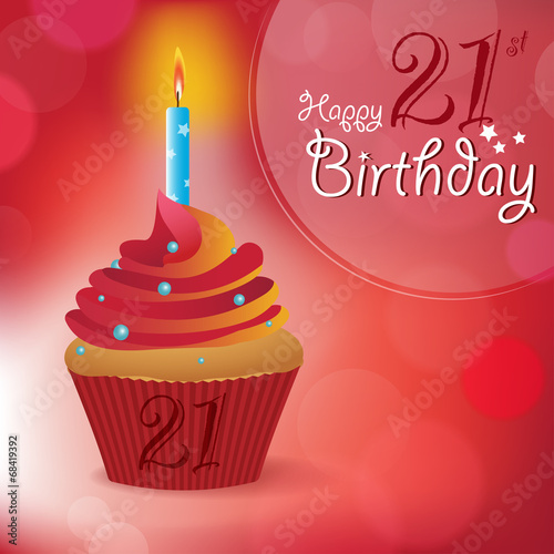 Poster  Happy 21st Birthday message -Bokeh Vector -cupcake & candle