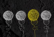 Idea Light Bulb Icon On Wall T...