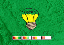 Light Bulb With Charging Battery Power Idea On Wall Texture Back