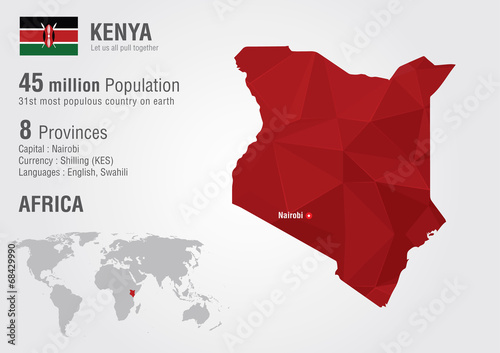 Photographie Kenya world map with a pixel diamond texture.