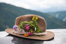 Brown Felt Hat Decorated With Alpine Flowers