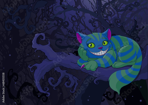 Stickers pour porte Magie Cheshire Cat