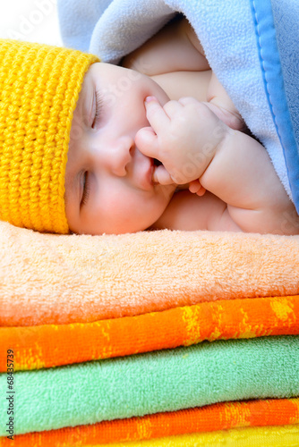 Cute Sleeping Baby Boy In Funny Hand Made Giraffe Hat Beautiful Buy This Stock Photo And Explore Similar Images At Adobe Stock Adobe Stock