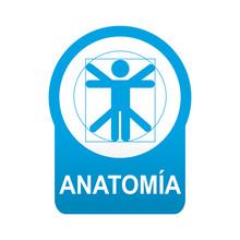 Etiqueta Tipo App Azul Redonda ANATOMIA