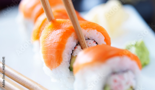 eating sushi with chopstricks panorama photo Canvas Print