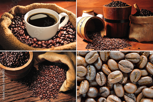 Collection of coffee cup and coffee beans - 68460907