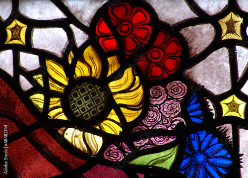 Fotografie, Obraz  Flowers in stained glass
