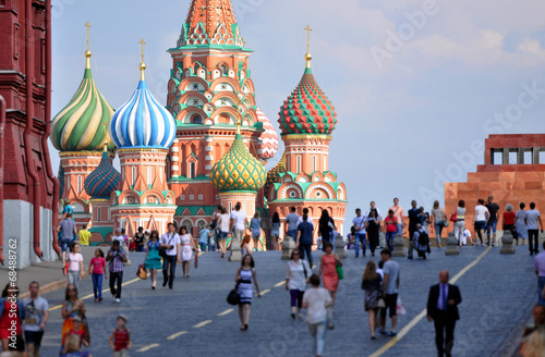 In de dag Moskou Red Square and St. Basil's Cathedral in Moscow