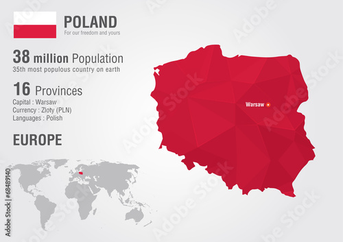 Poland world map with a pixel diamond texture. Tablou Canvas