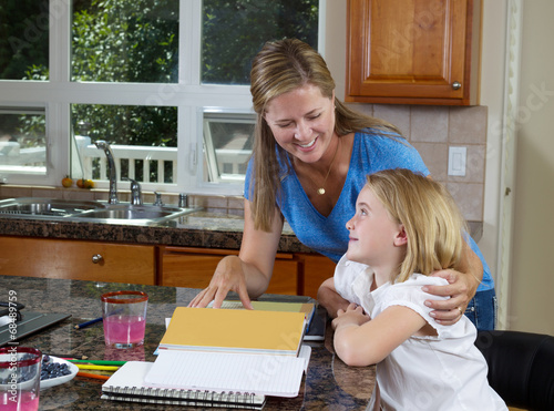 Mother and daughter working on homework Canvas-taulu