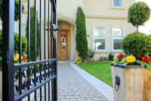 Entrance Wrought Iron Gate To Luxury House