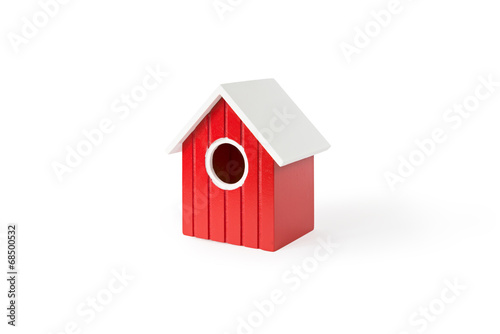 Canvas Print front view on red nest box birdhouse house for birds isolated on