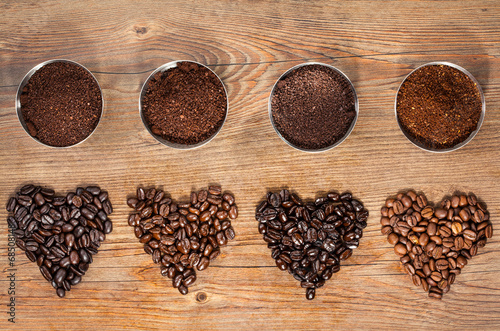 Fotografia  Coffee Beans and Ground Coffee