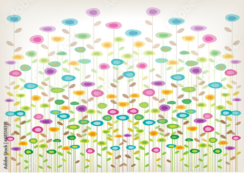 color vector flowers background - 68514391