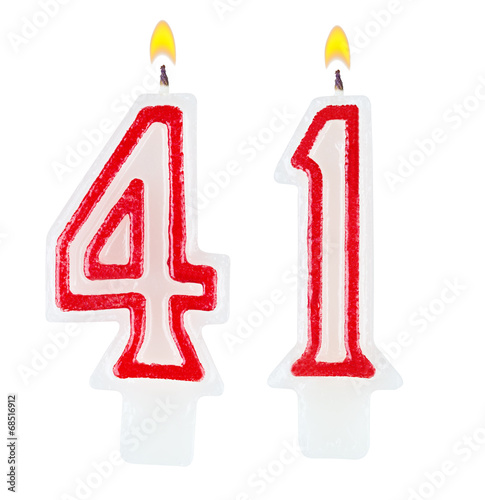 Fotografia  Birthday candles number forty one isolated on white background