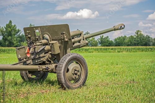 Tableau sur Toile Cannon from World War II  on a battlefield