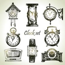 Hand Drawn Set Of Clocks And W...
