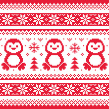 Christmas, Winter Knitted Pattern With Penguins - Scandinavian