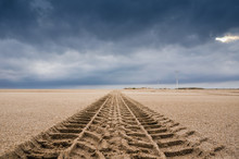 Tyre Tracks On The Sand Of The...