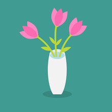 Bouquet Of Pink Tulip Flowers In A Vase. Flat Design.
