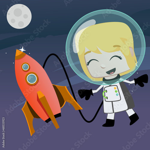 astronaut vector girl flying in the space