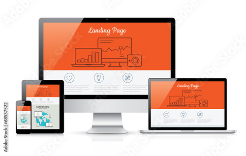 Fotografía  Responsive landing page development vector template illustration