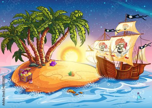Fotografie, Obraz  Illustration of treasure island and pirate ship