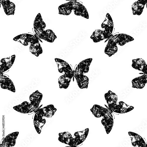 Photo sur Aluminium Papillons dans Grunge Seamless butterfly pattern