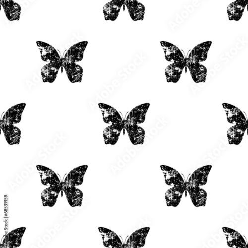 Foto op Aluminium Vlinders in Grunge Seamless butterfly pattern