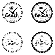 Simple Stylish Black And White Beach Related Label