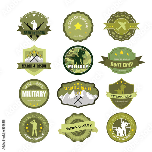 Fotografie, Obraz  Set of military and armed forces badges and labels logo
