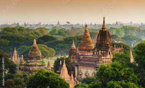 The Temples of Bagan at sunrise, Bagan, Myanmar Wallpaper Mural