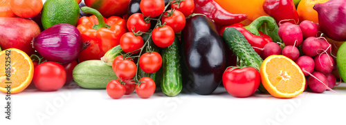 obraz lub plakat fruits and vegetables in basket isolated on white