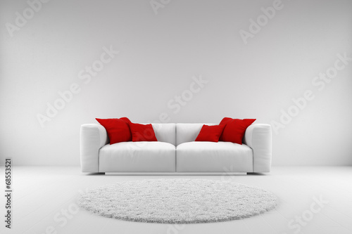 Fotografie, Obraz  White couch with red pillows