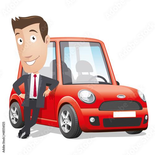 Staande foto Cartoon cars Cartoon character - Red car