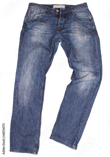 Fotografie, Obraz  Blue jeans isolated on white background. Clipping paths
