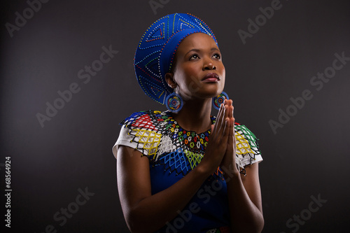 young african woman praying