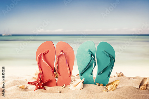e642fcb4f Summer beach with colored sandals and shells - Buy this stock photo ...