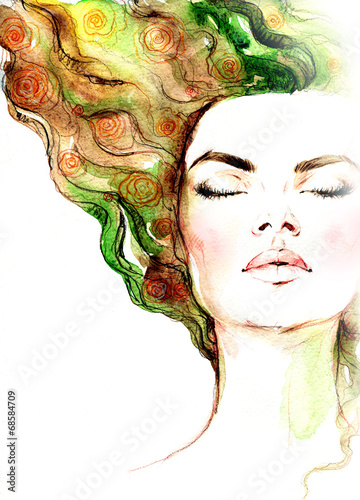 Deurstickers Aquarel Gezicht woman portrait .abstract watercolor .fashion background