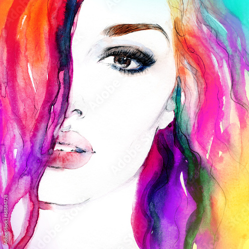 Foto op Aluminium Aquarel Gezicht woman portrait .abstract watercolor .fashion background