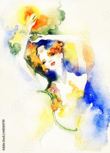Spoed Foto op Canvas Aquarel Gezicht woman portrait .abstract watercolor .fashion background