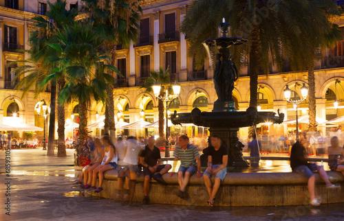 Placa Reial in summer night. Barcelona Canvas Print